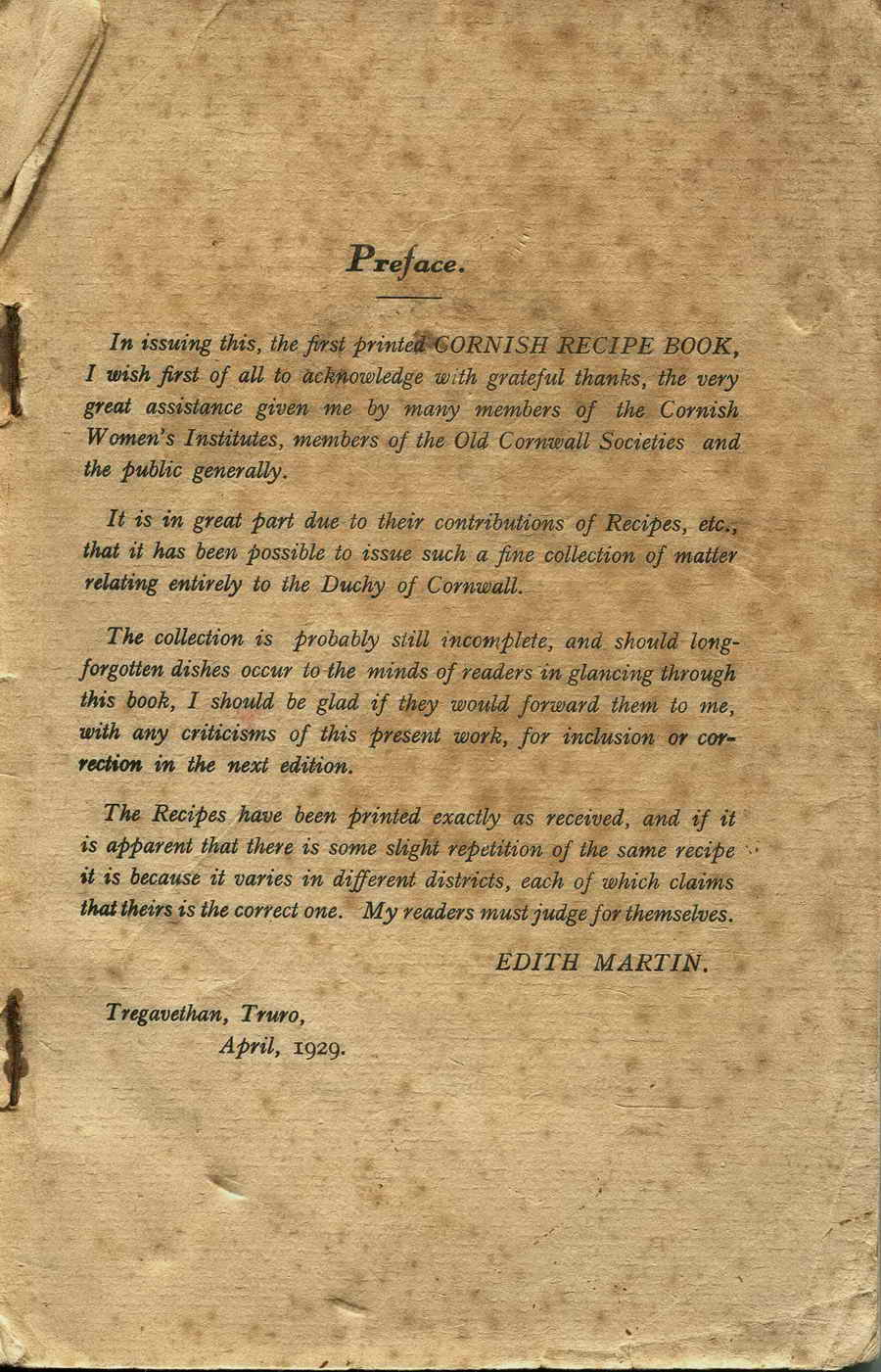 Preface to the 1929 first printed Cornish recipe book