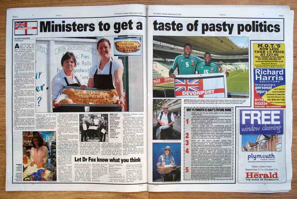 The political pasty - baked with a message to the Government in support of Devonport Naval Base
