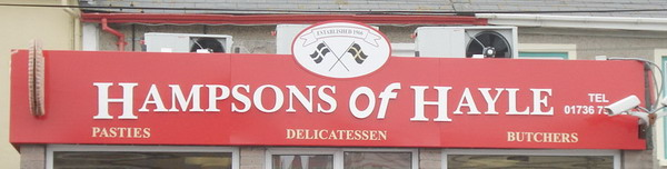 Hampsons sign above the shop