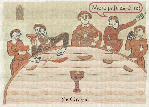A section of the Tintagel tapestry showing pasties being eaten at the Round Table in Camelot Castle