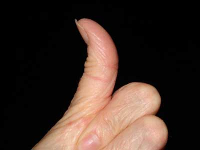 My wife's pasty thumb - well-shaped but under-used !!!