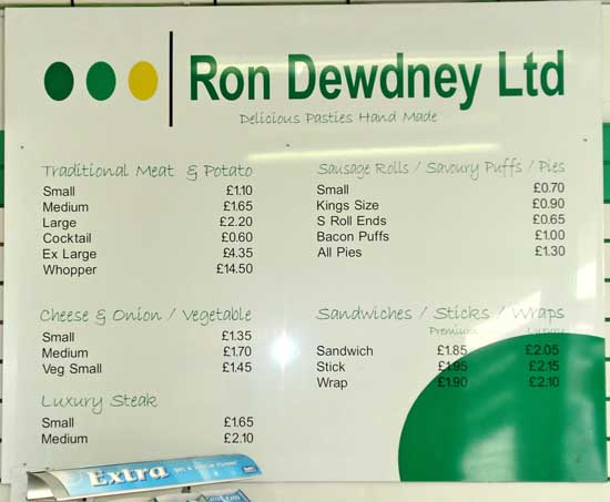 Price list on the wall in the Ron Dewdney shop in Devonport