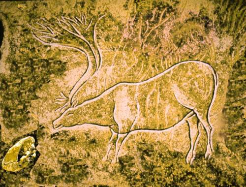 Elk with pasty - prehistoric cave drawing, Isles of Scilly